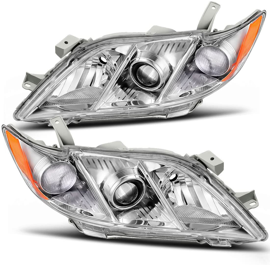 AUTOSAVER88 Headlight Assembly Compatible with 2007-2009 Toyota Camry Exclude Hybird Chrome Housing Amber Reflector Clear Lens Headlamps Replacement (Driver and Passenger Side)