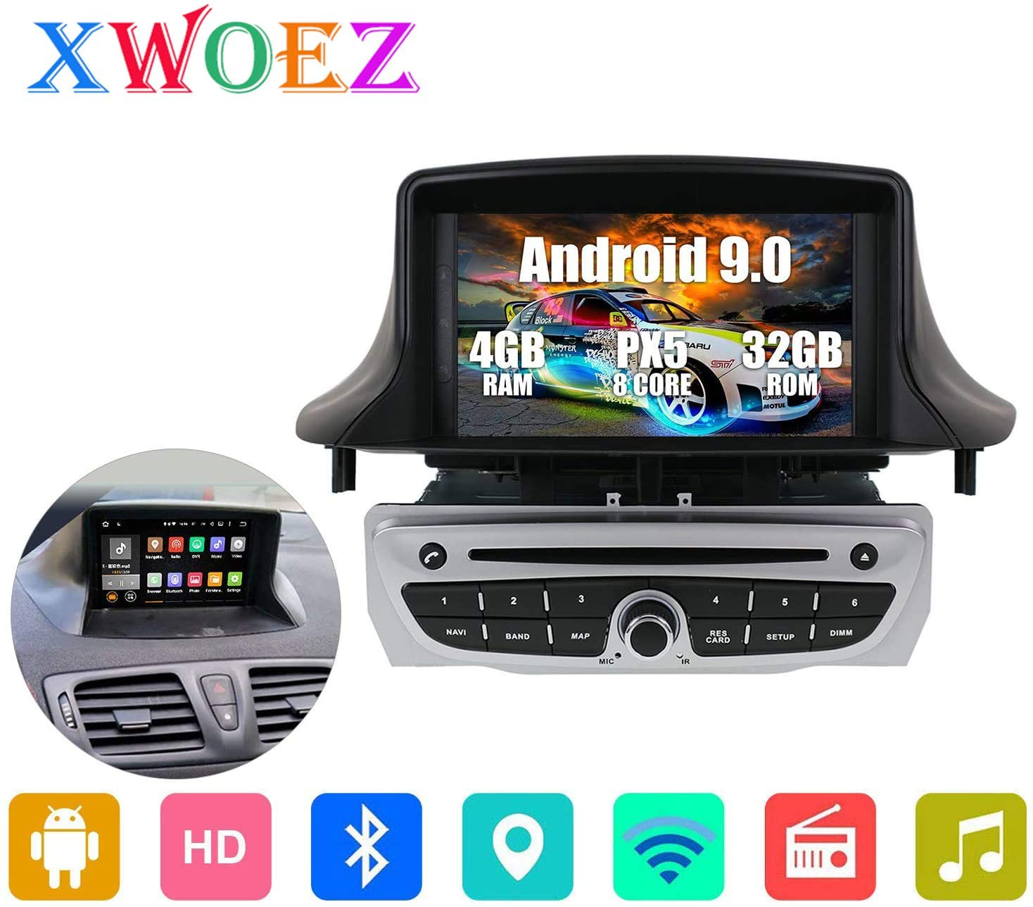 gaoweipeng for Renault Megane 3 Fluence 2009-2015 Andriod 9.0 Car GPS Navigation Head Unit GPS Navigation System Satellite Navigator DVD Player Tracker 7