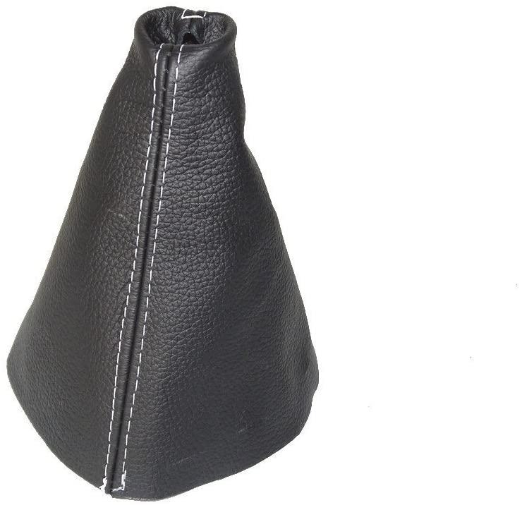 For Hyundai i20 2008-14 Shift Boot Black Genuine Leather White Stitching