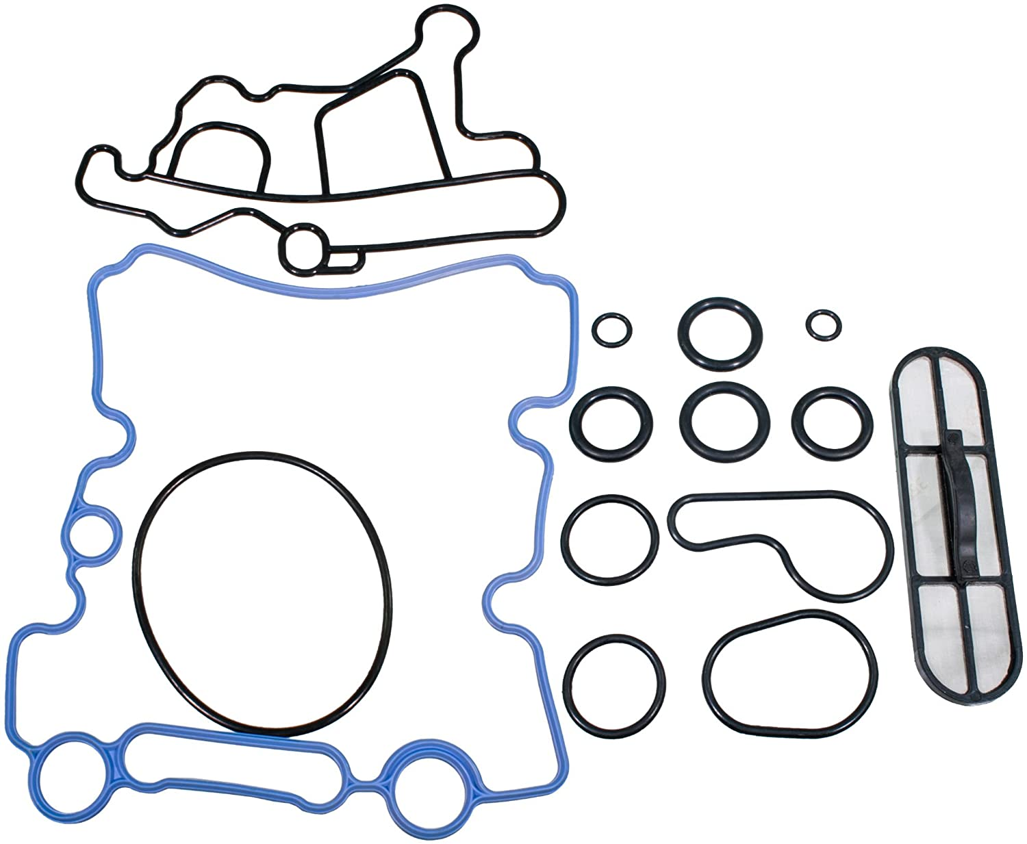 APDTY 133924 Engine Oil Cooler Gasket & Oil Screen Filter Kit Fits 2003-2010 Ford 6.0L Diesel (Replaces 3C3Z-6C683-AB, 3C3Z-6A642-CA, 3C3Z9N693A)