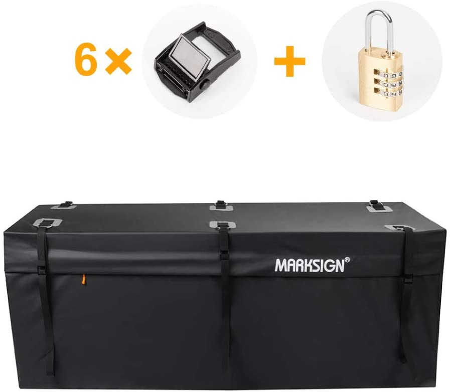 MARKSIGN 100% Waterproof Hitch Carrier Cargo Bag 58'' x 19'' x 23'' (15 Cu Ft), Waterproof Zipper and Rain Flap, 6 Lashing Straps with Cam Buckles, Zipper Lock Included