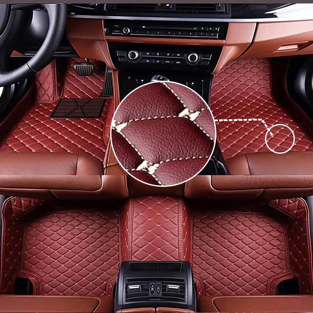 MyGone Car Floor Mats for Jeep Commander 2018, Leather Floor Liners - Custom Fit Waterproof Comfort Soft, Front Rear Row Full Set Wine Red