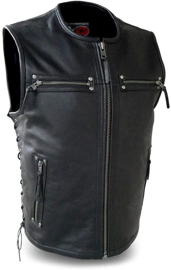 First Mfg Co Men's Brawler Leather Vest (Black, XX-Large)