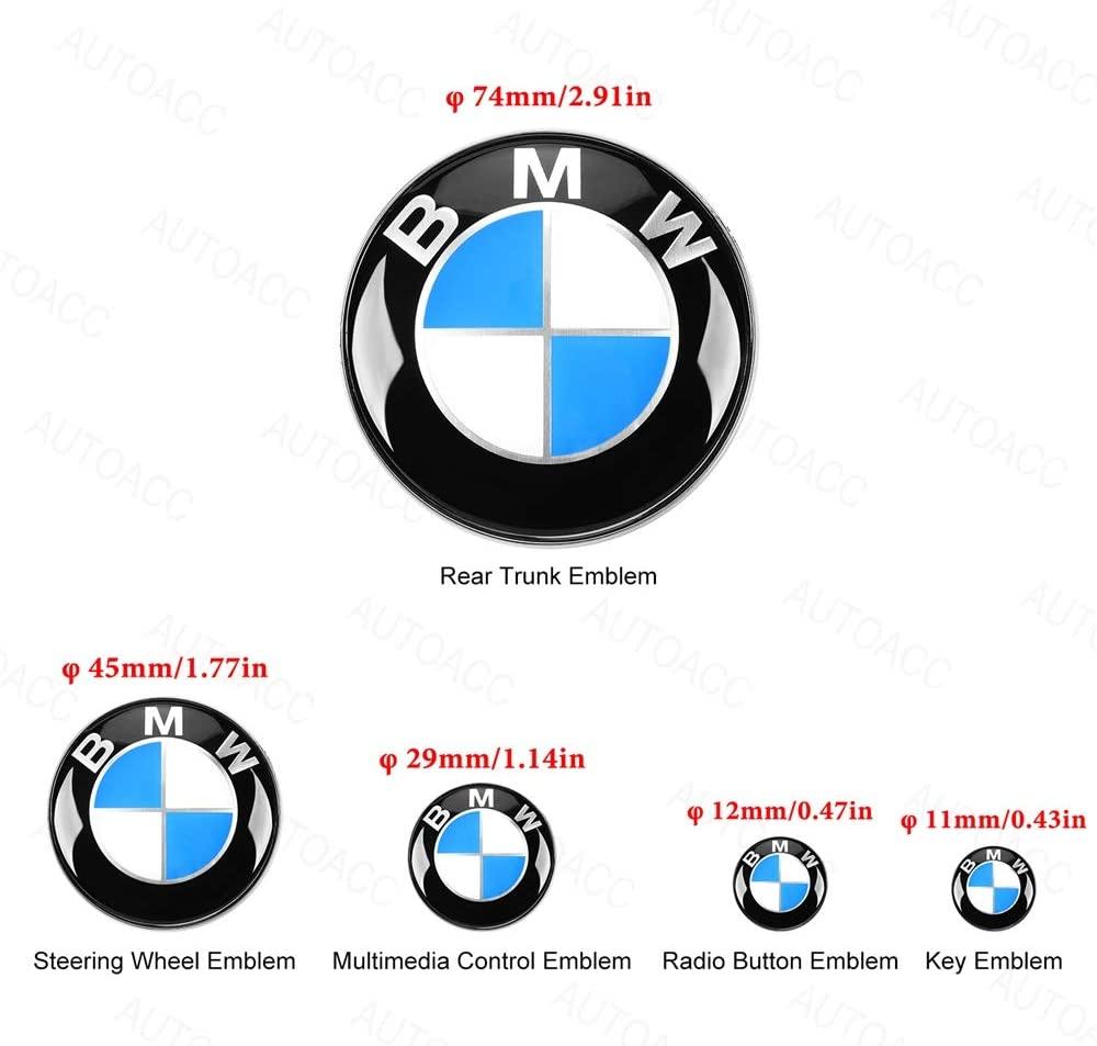 5 PCS for BMW Emblems Trunk, 74mm Trunk Emblem 45mm Steering Wheel Emblem Decal 29mm Multimedia Control Badge Sticker 12mm Radio Button Emblem Sticker 11mm Remote Key Emblem Sticker for BMW