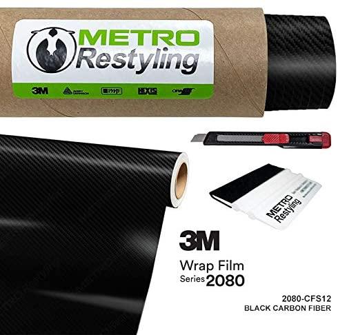 Metro Restyling 3M 2080 Carbon Fiber Car Wrap Vinyl Film W Felt Edge Squeegee Retractable Knife Blade Kit (5ft x 6ft, CFS12 Carbon Fiber Black)