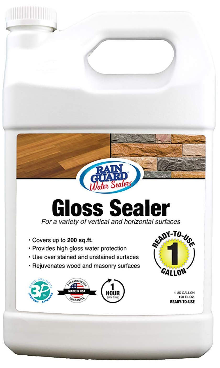 Rain Guard Water Sealers SP-1103 Gloss Sealer Ready to Use - Glossy Water Repellent for Wood, Concrete, Brick, Stone, and Masonry - Covers up to 200 Sq. Ft, 1 Gal, Clear