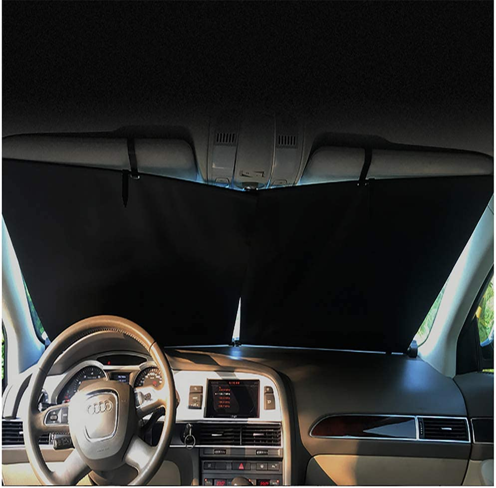 JINGBO Windshield Sun Shade,Universal 2PCS Automatic Retractable Protect Baby, Kids, Pets,UV Protection,Easy to Install, for SUV