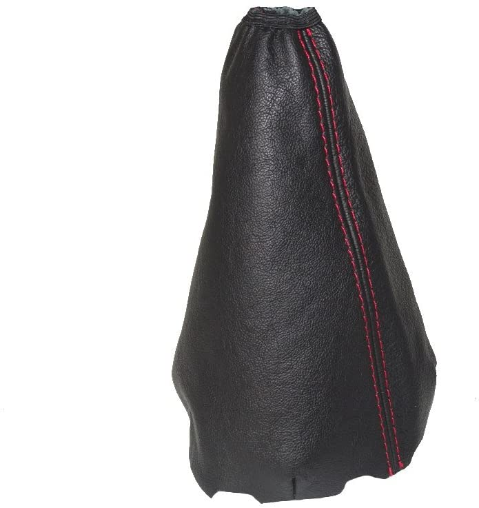 For Toyota Urban Cruiser 2008-14 Shift Boot Black Genuine Leather Red Stitching