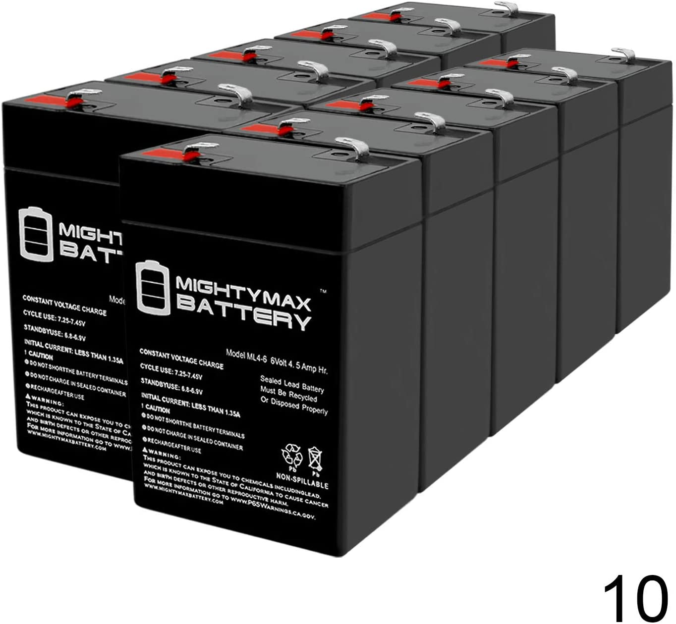 Mighty Max Battery 6V 4.5Ah Replacement for APC Back-UPS 250 Battery - 10 Pack Brand Product