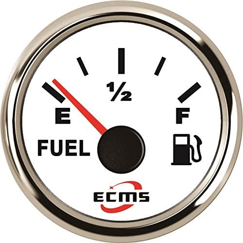 ECMS Marine Boat Fuel Level Gauge 0-190Ω 9-32V 52mm 316L Chrome Bezel with White Dial 800-00001
