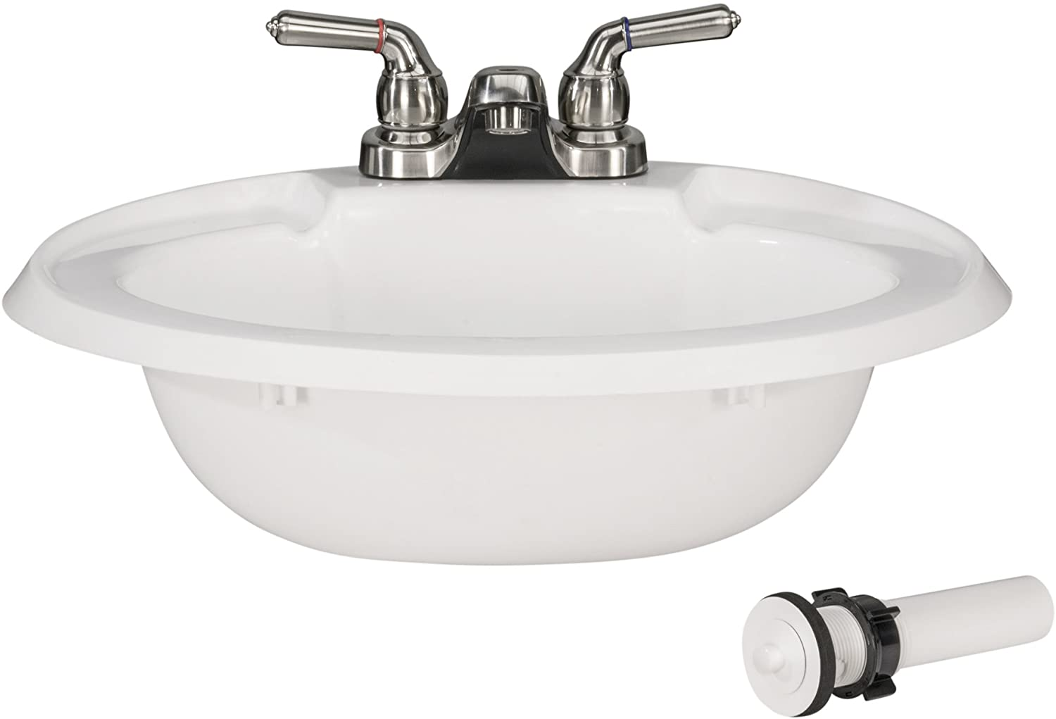 RecPro Oval RV Bathroom Sink w/Drain Stopper and Brushed Nickel Teapot Faucet | White | Single Bowl Lavatory Sink | Camper Sink | 20x17 | Plastic
