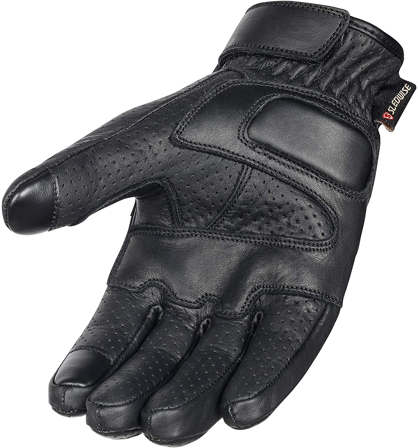 Premium Cowhide Leather Motorcycle Gloves (Black) Mobile Touchscreen Full Finger Gloves for Cycling Motorbike ATV Bike Camping Climbing Hiking Work Outdoor Sports, Perforated Men Gloves (Black, S)
