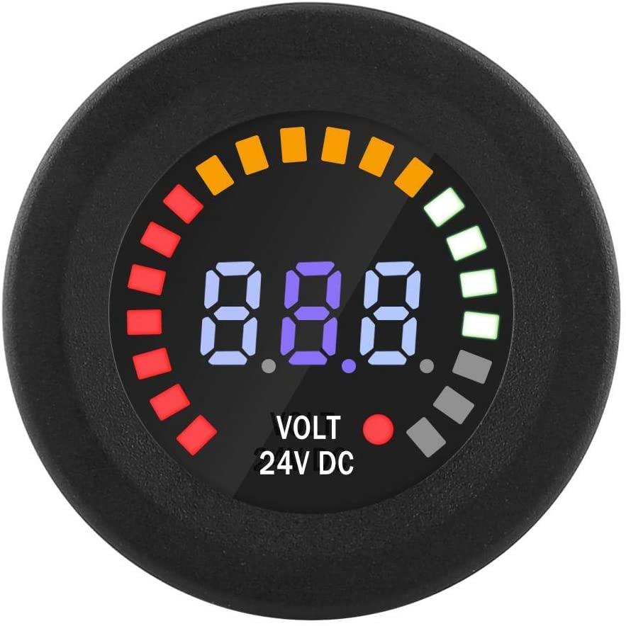 LED Panel Voltmeter,DC 24V Universal Digital LED Panel Voltmeter Voltage Display Volt Meter For Car Motorcycle ATV