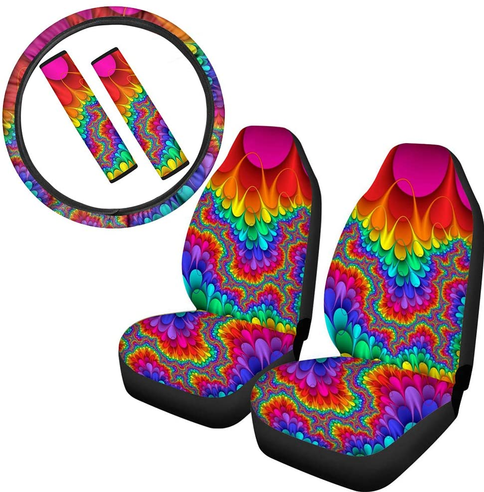 FUIBENG Rainbow Color Tribal Tie Dye Design 5 Pcs Set Universal Car Combo Seat Covers with Steering Wheel Cover+ Seat Belt Pads, Fit for Most Cars SUV Van Trucks