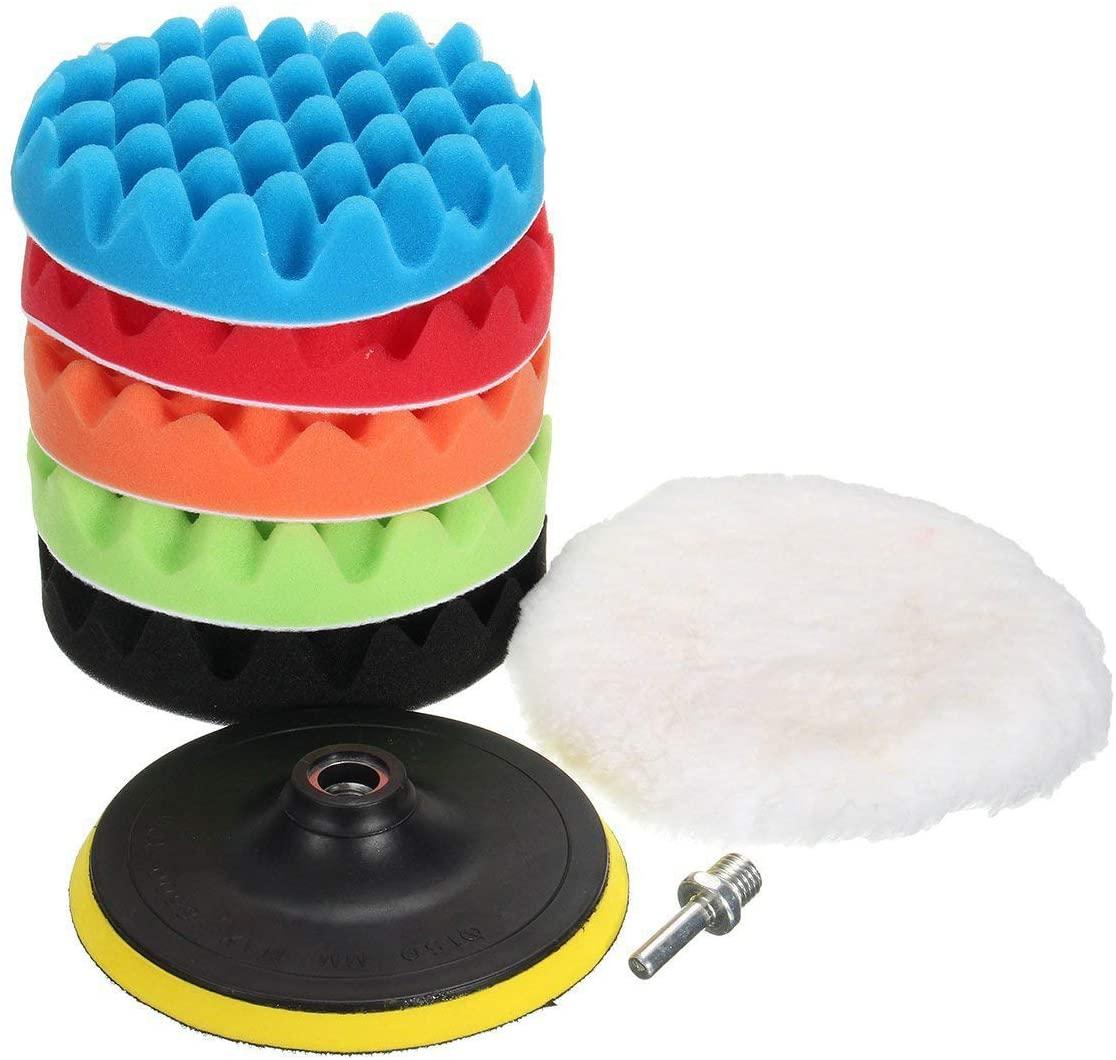 MATCC 7Pcs 6inch Polishing Pads Buffing Wheel for Drill Woolen Polishing Waxing Buffing Pads Car Polisher Kits Backing pad with M14 Drill Adapter
