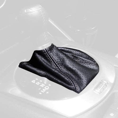 RedlineGoods Shift Boot (auto) Compatible with Mazda Miata ND 2016-20. Black Alcantara-Silver Thread