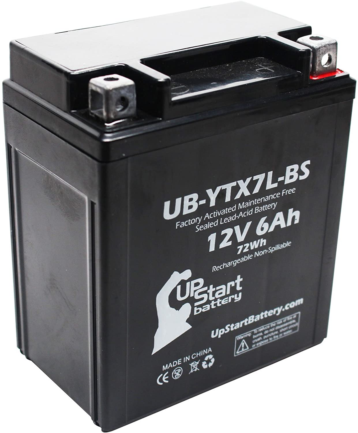 Replacement for 2003 Kawasaki EX250 Ninja 250CC Factory Activated, Maintenance Free, Motorcycle Battery - 12V, 6Ah, UB-YTX7L-BS