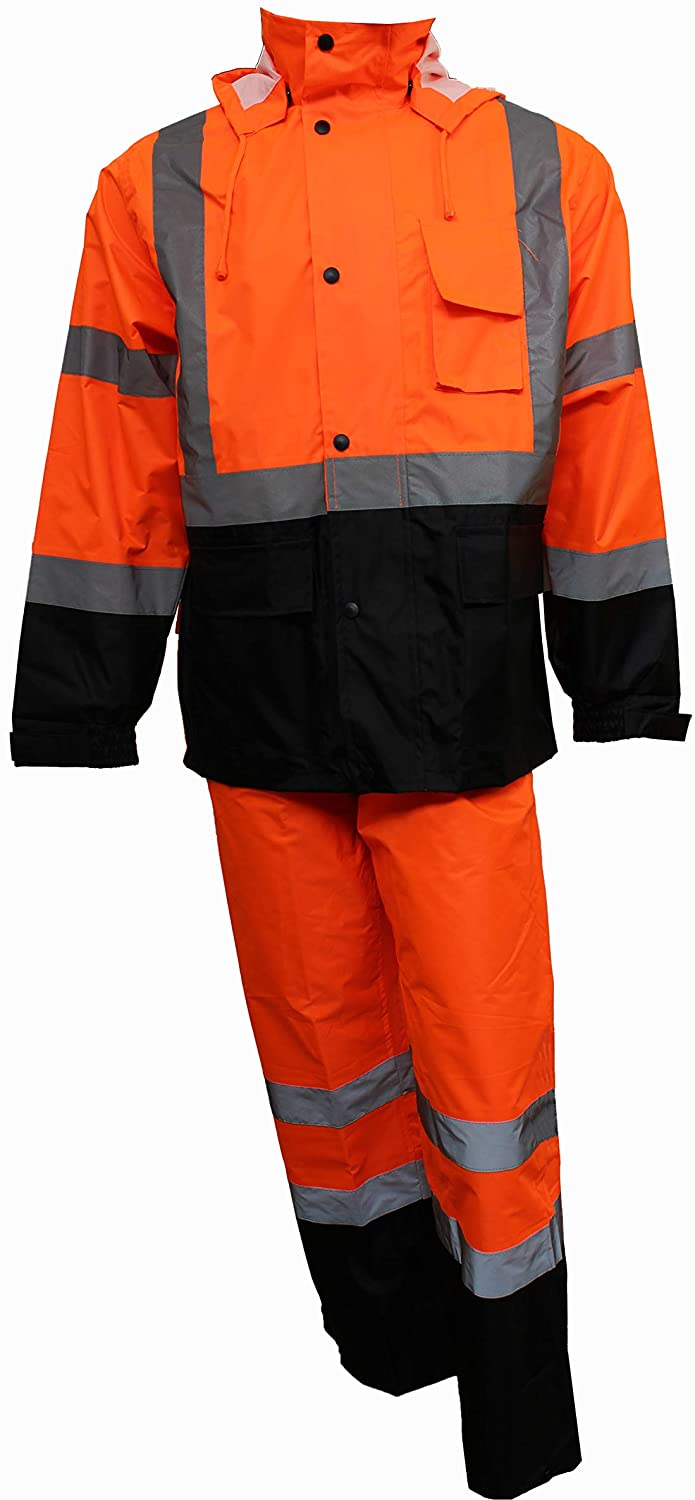 RK Safety RW-CLA3-OR33 Class 3 Rain suit, Jacket, Pants High Visibility Reflective Black Bottom (Small, Orange)