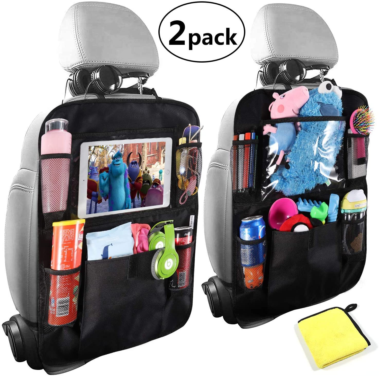 Car Backseat Organizers For Kids, Kick Mat with 10inch Tablet Holder, Car Seat Back Protectors,Multiple Storage Pockets for Toys Drink Tissue Snacks,Car Accessories for Kids&Toddlers(2Pack+1Bonus)