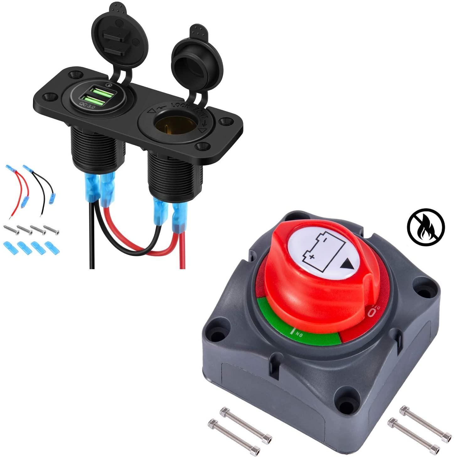 Bundle | Kohree Battery Disconnect Switch, 12V-48V Battery Isolator Power Cut Off Master Switch & 12V Cigarette Lighter Outlet Splitter, Quick Charge 3.0 Dual USB Ports LED Display