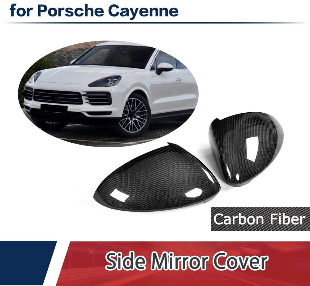 LY-QCYP Car Mirror Covers,fits for Porsche Cayenne 2018 Add on Carbon Fiber Mirror Covers Cap Side Rear View