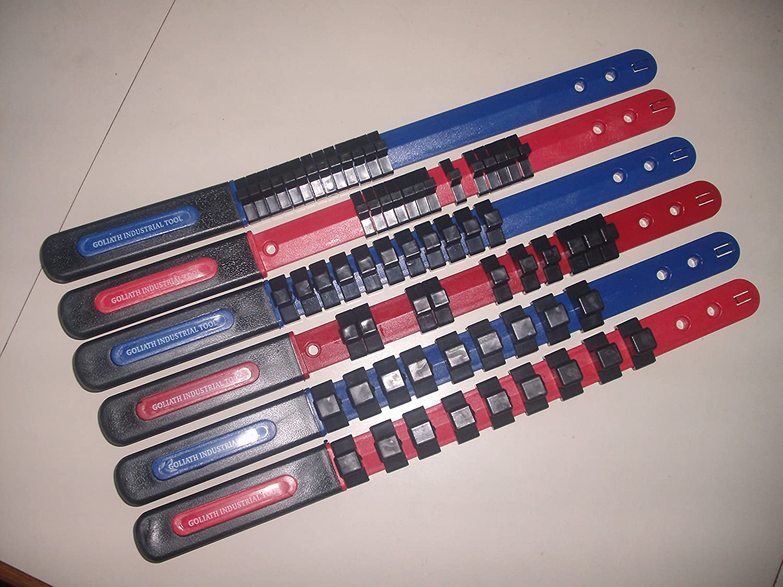 6 Piece GOLIATH INDUSTRIAL TOOL Socket rail tray organizer 1/4, 3/8, 1/2 Blue and Red