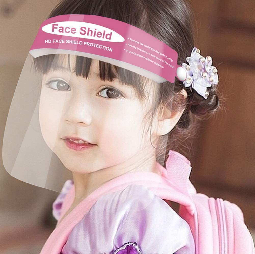 5Pcs Kids Protective Face Shields with Clear Vision, Adjustable, Lightweight and Anti-Fog For Children Eye Protection (Pink-5pcs)