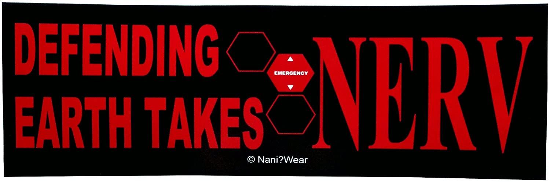 NaniWear Evangelion Anime Geek Bumper Sticker Defending Earth Takes NERV