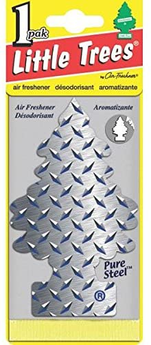 LITTLE TREES Car Air Freshener   Hanging Paper Tree for Home or Car   Pure Steel