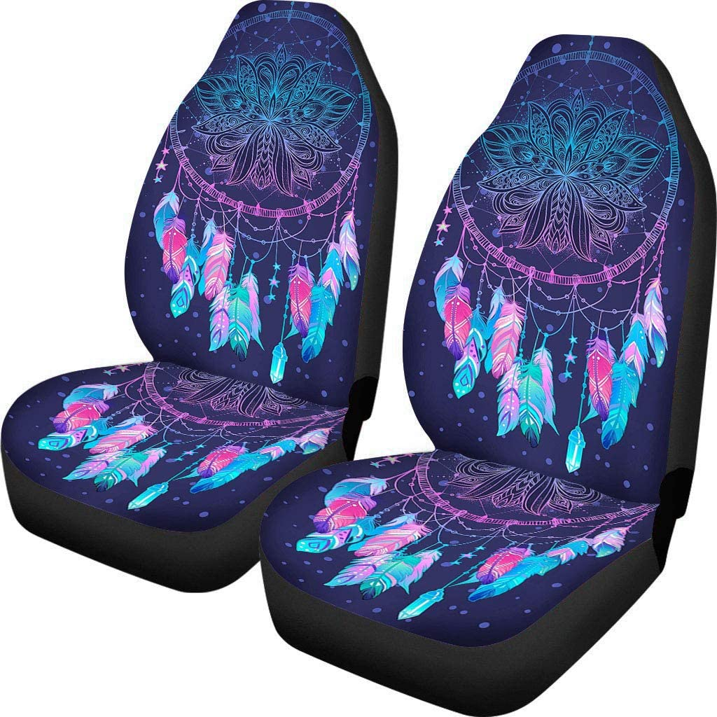 Universal Fit Custom Abstract Native American Indian Talisman Dream Catcher Bohemian Front Car Seat Covers Set of 2,Vehicle Seat Protector Car Mat Covers -100% Breathable