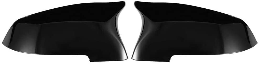 2Pcs Car Rearview Mirror Protective Cover Left and Right Gloss Black ABS + Gloss Finish Auto Exterior Side Rear View Mirror Shell Protector Cap Trim for 5 6 7 Series F10 F11 51167308683