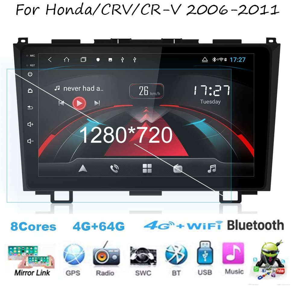 TypeBuilt for Honda/CRV/CR-V 2006-2011 Car Stereo Auto Radio 9 Inch Touch Screen GPS Navigation Head Unit Support Full RCA Output BT WiFi Car Auto Play DVR DAB+ TPMS