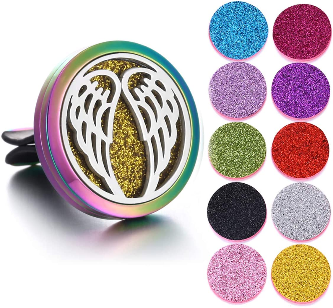 LKXHarleya Wings Car Aromatherapy Essential Oil Diffuser Car Air Freshener Stainless Steel Locket with Vent Clip 10 Felt Pads