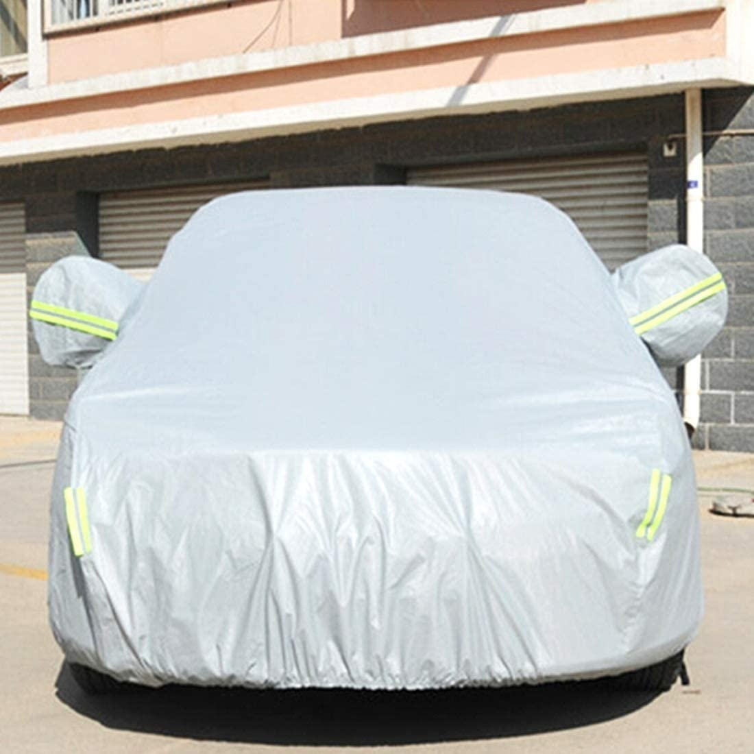 JSANSUI Windshield Cover PVC Anti-Dust Sunproof Sedan Car Cover, with Warning Strips, Fits Cars up to 4.9m(191 inch) in Length