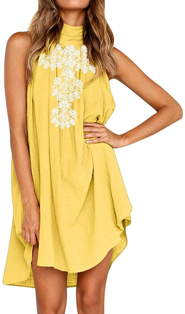 Aritone - women clothes Womens Sexy Sleeveless Dresses,Summer Casual Loose Cotton Linen Beach Holiday Party Irregular Dress