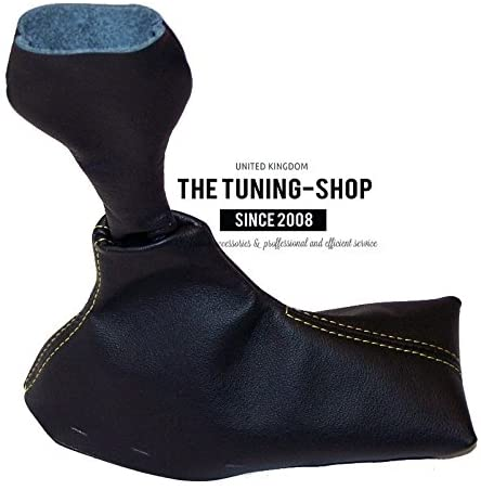The Tuning-Shop Ltd for Porsche Boxster 986 1996-2004 5 Speed Shift Boot Black Genuine Leather Yellow Stitching
