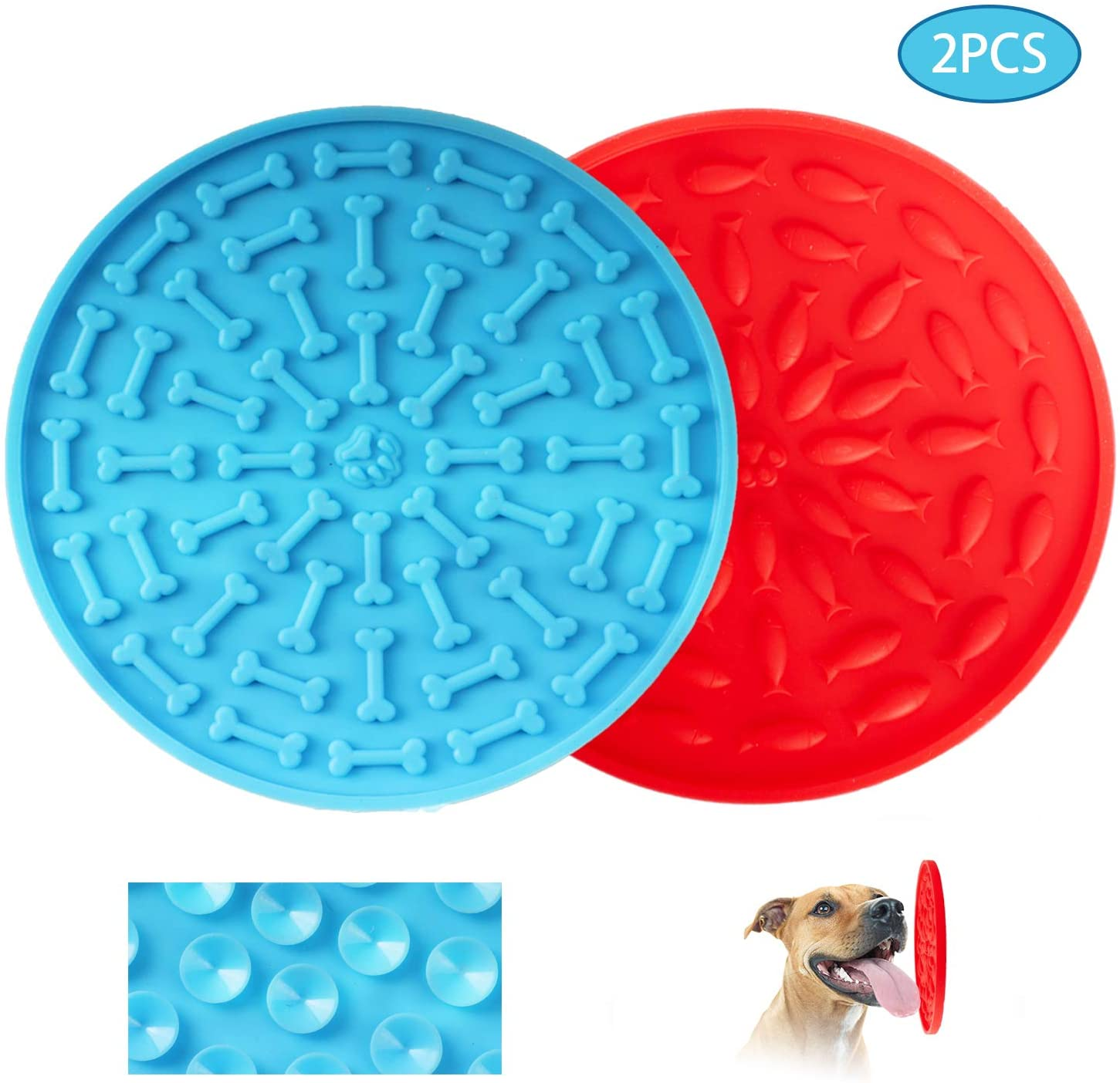 ARSSILEE Dog Lick Pad, Lick Mat with 37 Super Suction for Dogs Bathing Grooming and Training, Durable Silicone Dog Slow Feeder Distraction Device Makes Shower Easy and Funny