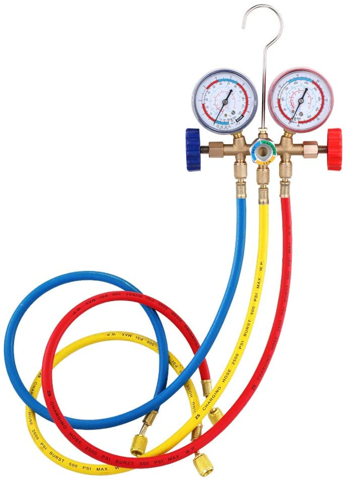 QWERTOUR Refrigerant Manifold Gauge Set Air Conditioning Tools with Hose and Hook for Air Condition Refrigeration