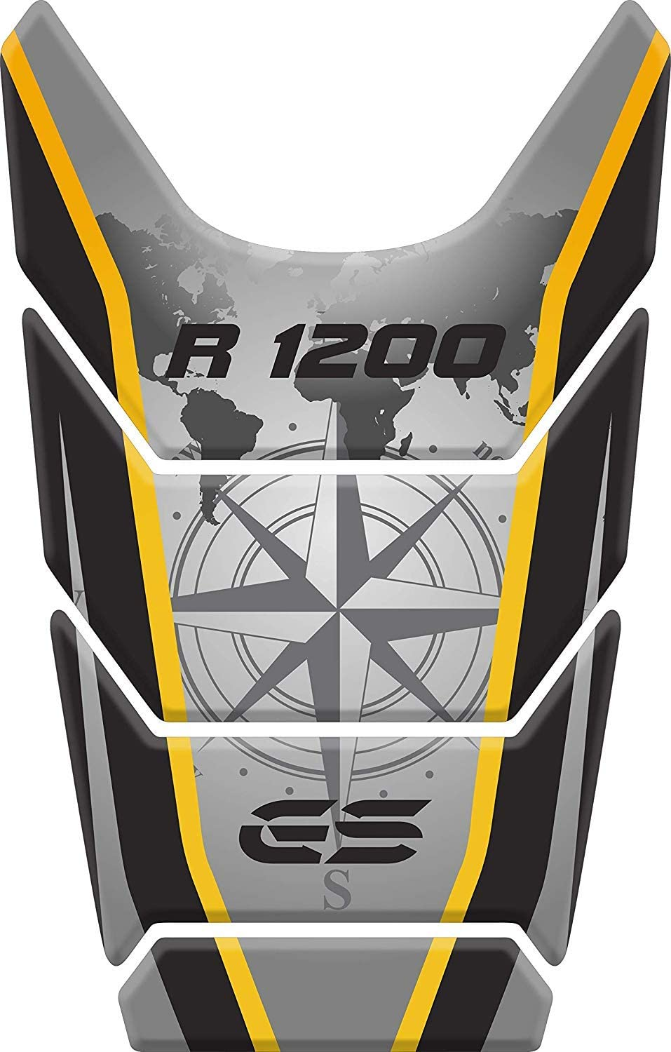 Stickers for fuel tank tankpad 3D effect resin adhesive sticker compatible with BM.W BM.W R 1200 GS R1200GS ADV Adventure (Yellow)