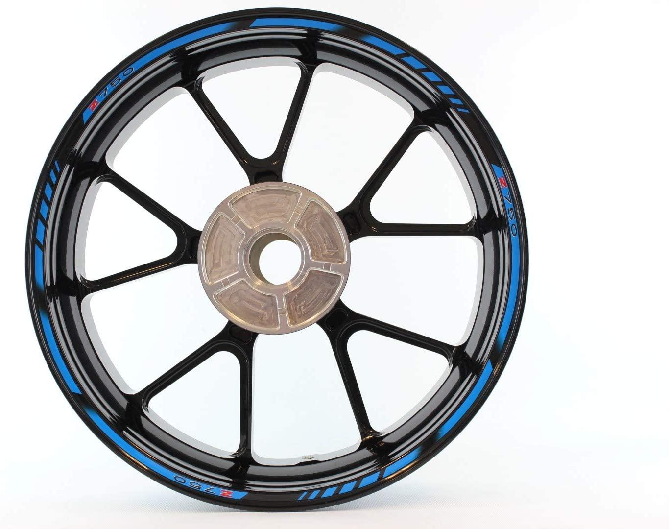 Motorcycle wheel rim decals rimstriping strips accessory sticker for Kawasaki Z750 Z 750 (Light Blue)