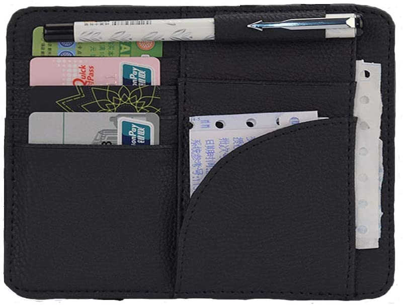 GJMALL Visor Folder,Car Sun Visor Organizer, Multi-Function Card Holder for Vehicles, Car Sun Visor Card Clip Storage Bag for Card Ticket and Pen