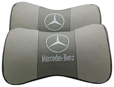 Wall Stickz 2 PCS Genuine Leather Bone-Shaped Car Seat Pillow Neck Rest Headrest Comfortable Cushion Pad with Mercedes-Benz Logo Pattern Pillow (Light Grey)