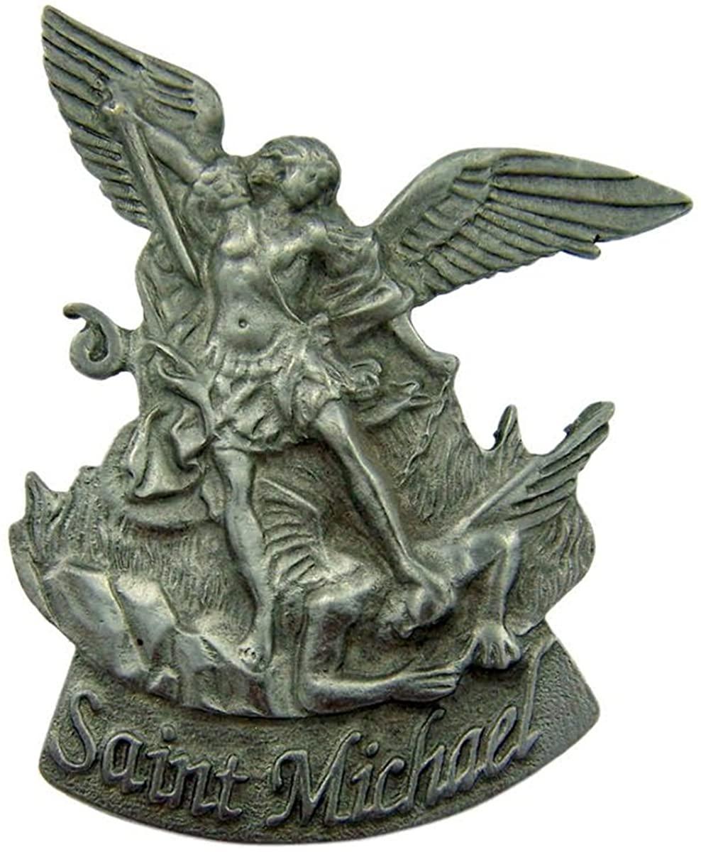 Pewter Catholic Patron Saint Michael Archangel Visor Clip, 2 1/2 Inch