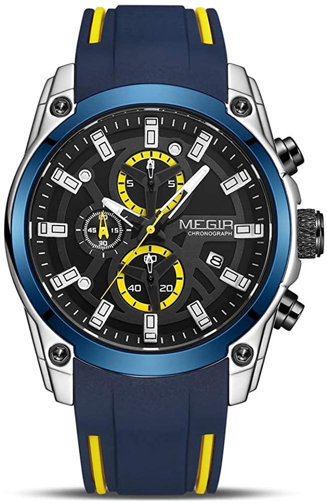 MEGIR Men's Analogue Sport Chronograph Luminous Quartz Watch with Fashion Silicone Strap MN2144G