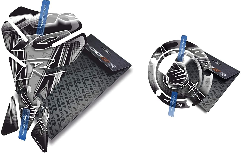 Fooqs Tankpad and Cappad V1 for Kawasaki ZX10R ZX 10R ZX10 Z X 10 R (Silver)