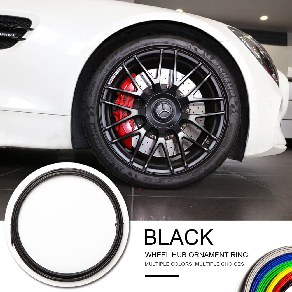 MOME-EB Wheel Hub Decorative Protection Ring Wheel Hub Stripe Automobile Decoration Scratch Prevention (2M/Item×4piece 8M (Black)