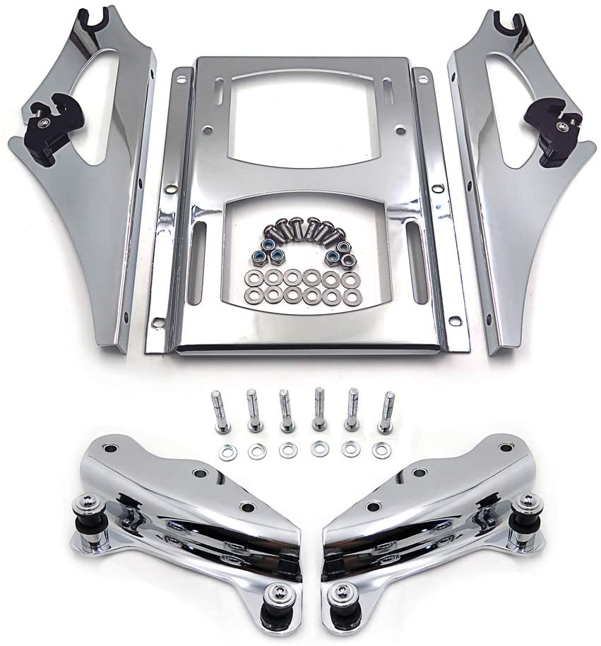 HONGK- Chrome 4-Point Docking Hardware Kit and Detachable 2-Up Tour Pak Mounting Luggage Rack Compatible with 2009-2013 Harley-Davidson Touring [B01FCYZZZI]