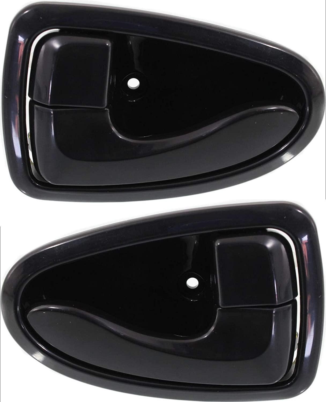Evan-Fischer EVA18772066459 Interior Door Handles for Set of 2 Front or Rear Left and Right Side Plastic Black W/door lock button