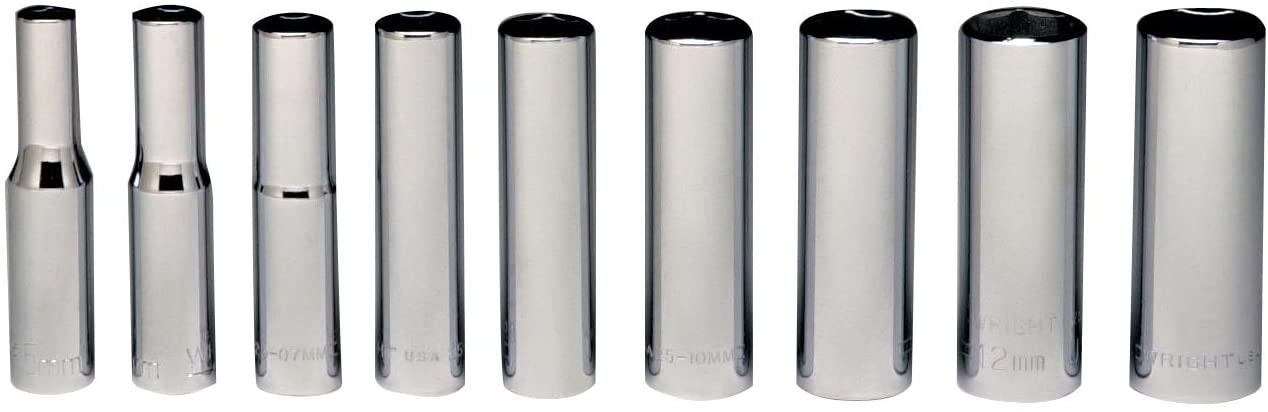 Wright Tool 257 1/4 Drive 6 Point Deep Metric Socket Set, 5mm - 13mm - (9-Piece),Silver