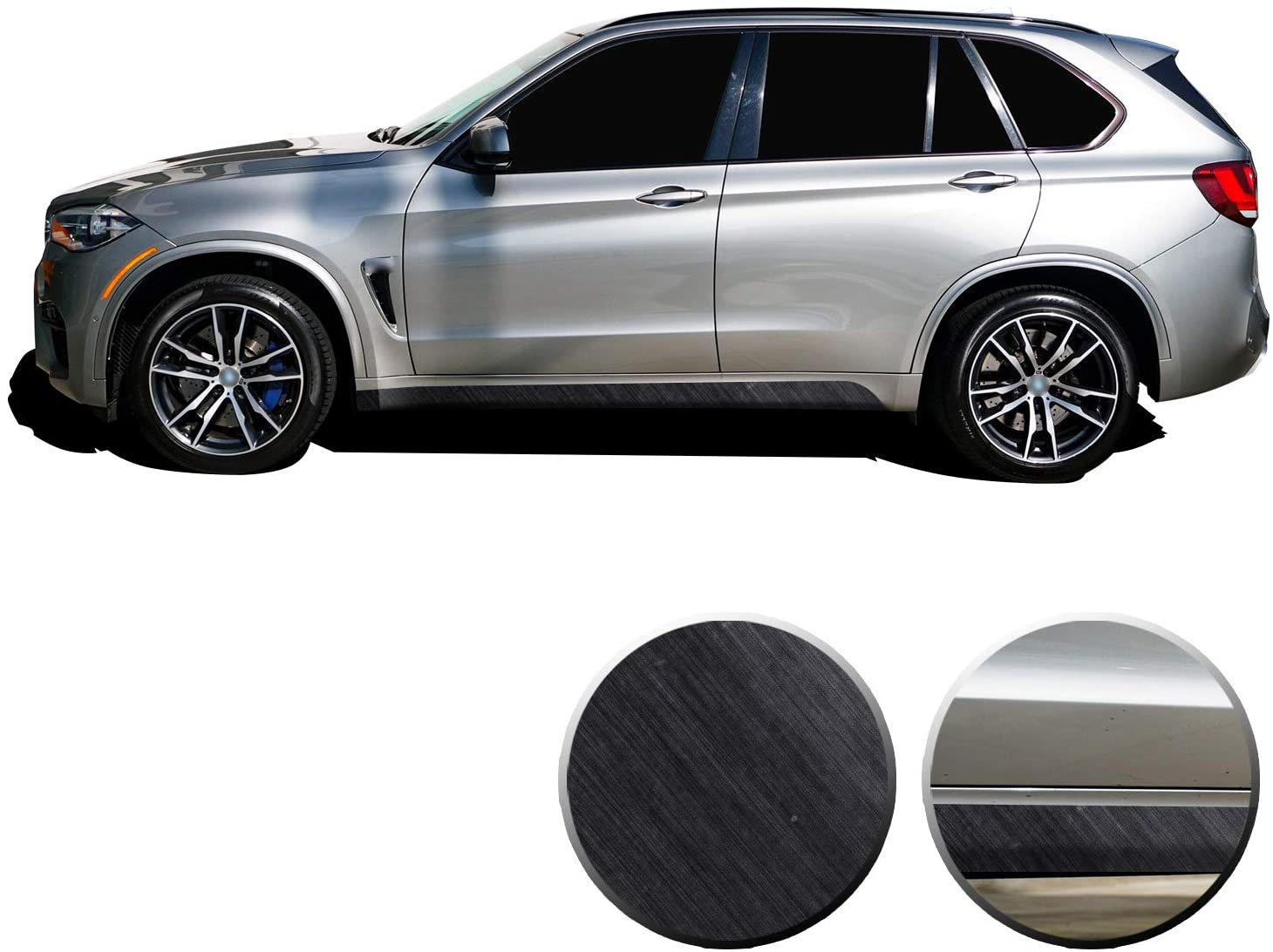Optix Lower Panel Side Skirt Accent Vinyl Overlay Wrap Trim Compatible with BMW X5 F15 F85 2014 2015 2016 2017 2018 - Metallic Brushed Aluminum Black